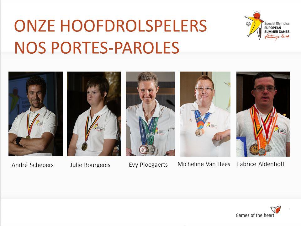 ONZE HOOFDROLSPELERS NOS PORTES-PAROLES André SchepersJulie Bourgeois Evy Ploegaerts Micheline Van Hees Fabrice Aldenhoff