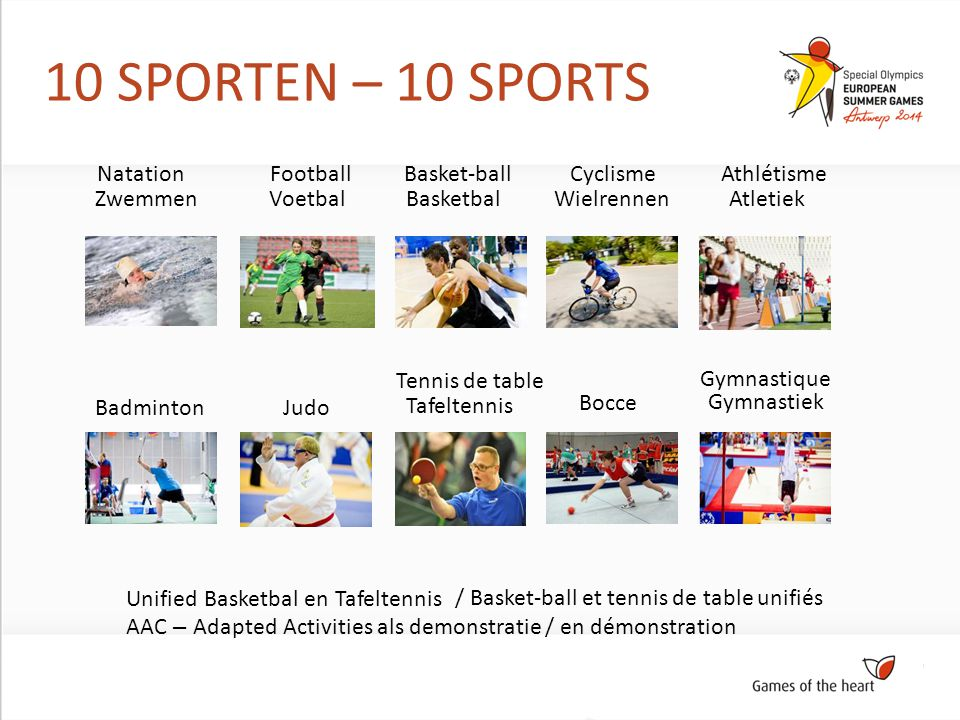 10 SPORTEN – 10 SPORTS ZwemmenWielrennen BadmintonJudo Tafeltennis Bocce VoetbalBasketbalAtletiek Gymnastiek Unified Basketbal en Tafeltennis AAC – Adapted Activities als demonstratie / en démonstration NatationCyclisme Tennis de table FootballBasket-ballAthlétisme Gymnastique / Basket-ball et tennis de table unifiés