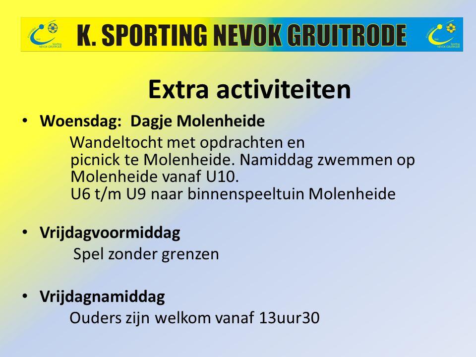 Extra activiteiten Woensdag: Dagje Molenheide Wandeltocht met opdrachten en picnick te Molenheide. Namiddag zwemmen op Molenheide vanaf U10. U6 t/m U9