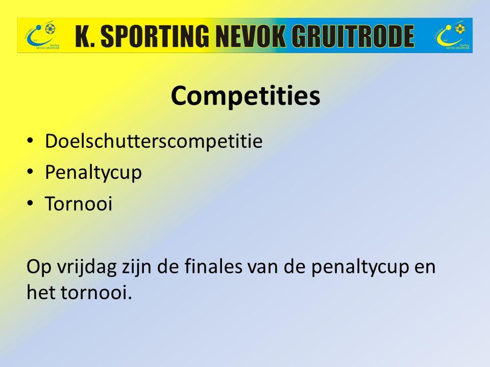Competities Doelschutterscompetitie Penaltycup Tornooi Op vrijdag zijn de finales van de penaltycup en het tornooi.
