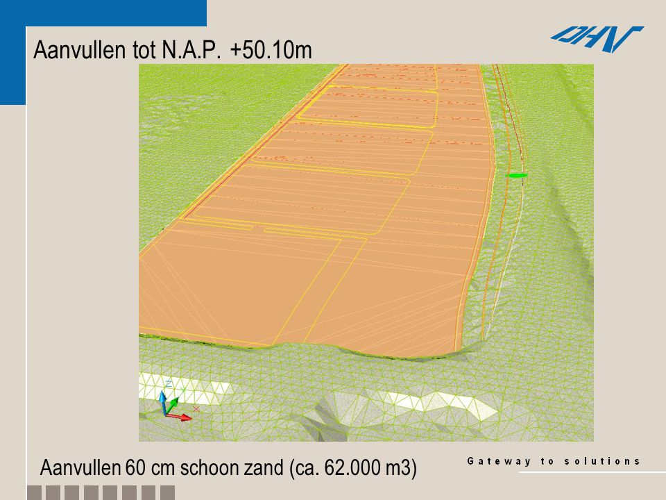 Aanvullen tot N.A.P. +50.50m Aanvullen 40 cm menggranulaat (ca. 26.000 m3)