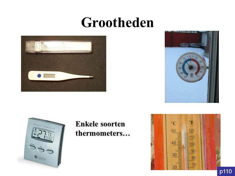 Grootheden Enkele soorten thermometers… p110