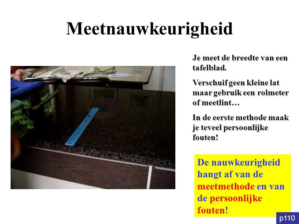 Meetnauwkeurigheid Je meet de breedte van een tafelblad. Verschuif geen kleine lat maar gebruik een rolmeter of meetlint… In de eerste methode maak je