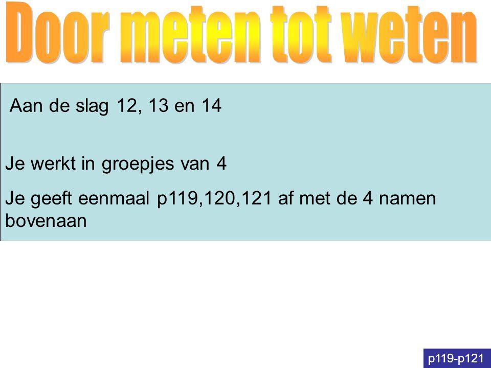 Aan de slag 12, 13 en 14 p119-p121 Je werkt in groepjes van 4 Je geeft eenmaal p119,120,121 af met de 4 namen bovenaan