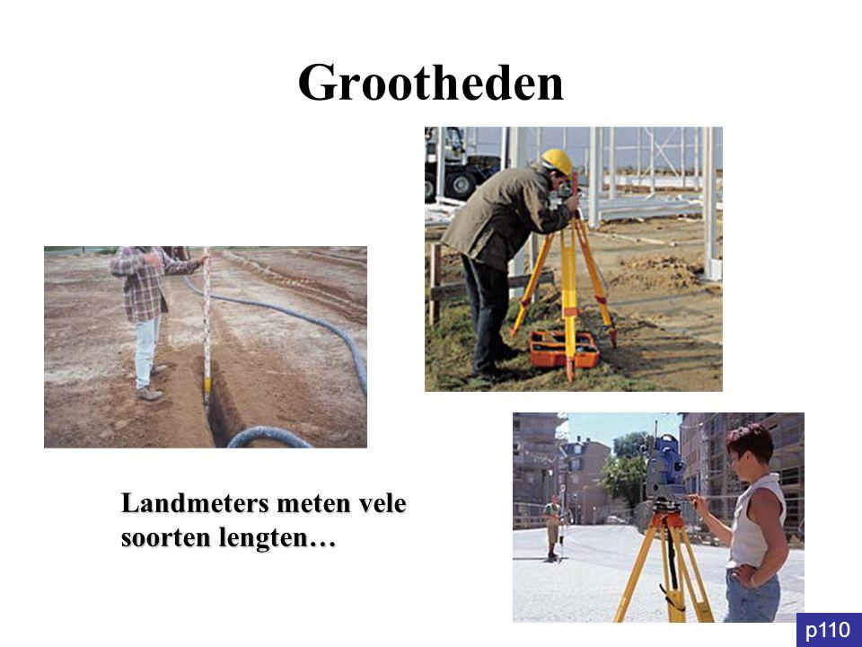 Grootheden Landmeters meten vele soorten lengten… p110