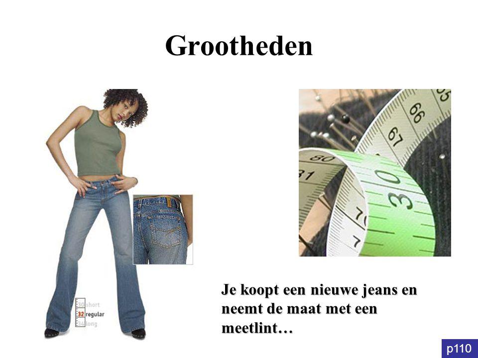 Grootheden Je koopt een nieuwe jeans en neemt de maat met een meetlint… p110