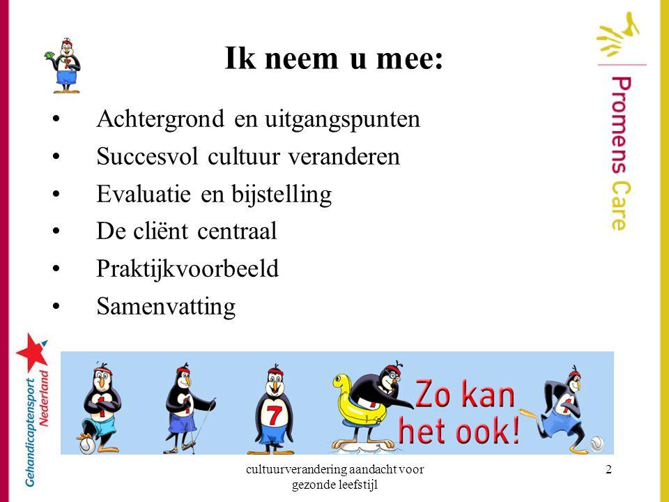 cultuurverandering aandacht voor gezonde leefstijl 13 e.