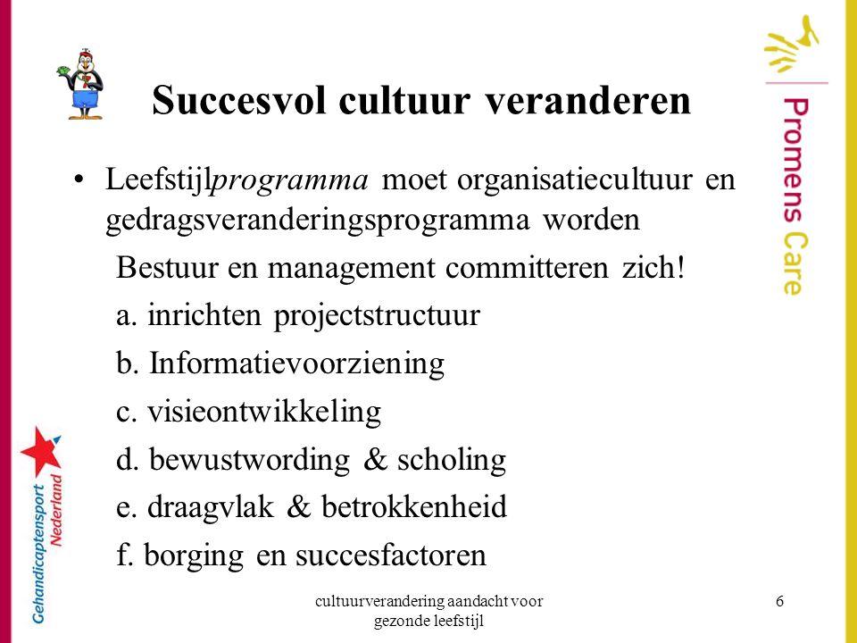 cultuurverandering aandacht voor gezonde leefstijl 6 Succesvol cultuur veranderen Leefstijlprogramma moet organisatiecultuur en gedragsveranderingspro