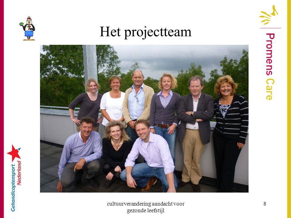 cultuurverandering aandacht voor gezonde leefstijl 8 Het projectteam