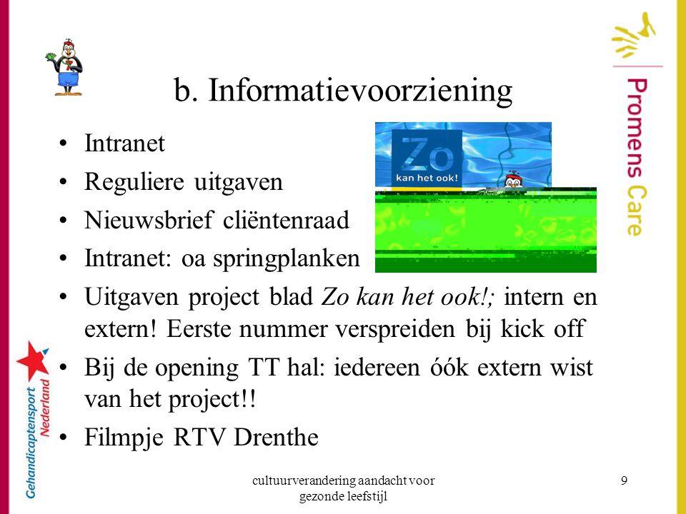 cultuurverandering aandacht voor gezonde leefstijl 9 b. Informatievoorziening Intranet Reguliere uitgaven Nieuwsbrief cliëntenraad Intranet: oa spring