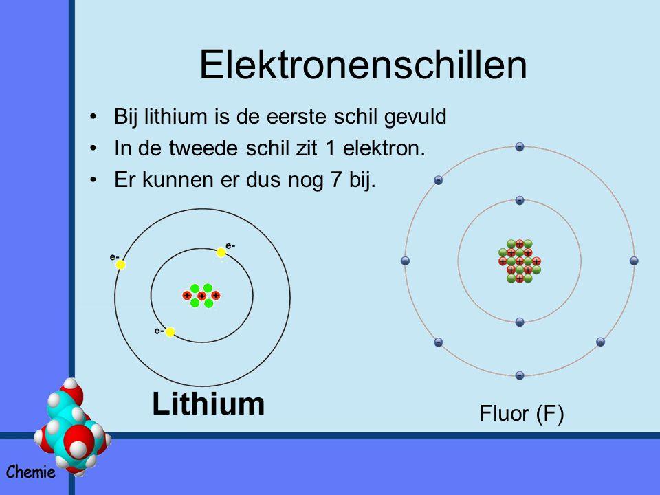 Elektronenschillen Bij lithium is de eerste schil gevuld In de tweede schil zit 1 elektron.