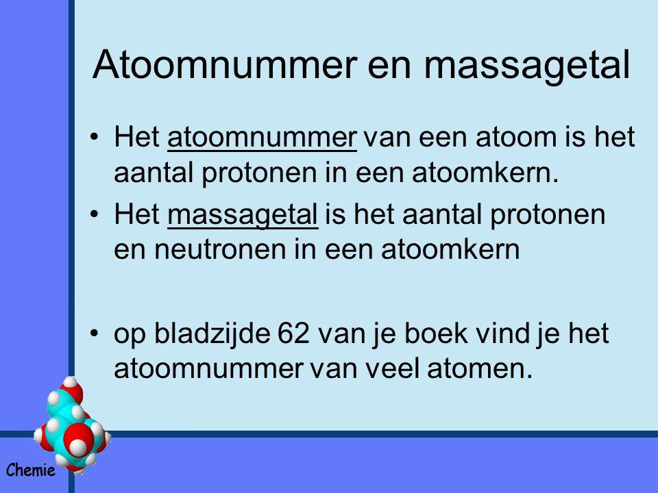 Atoomnummer en massagetal Het atoomnummer van een atoom is het aantal protonen in een atoomkern.