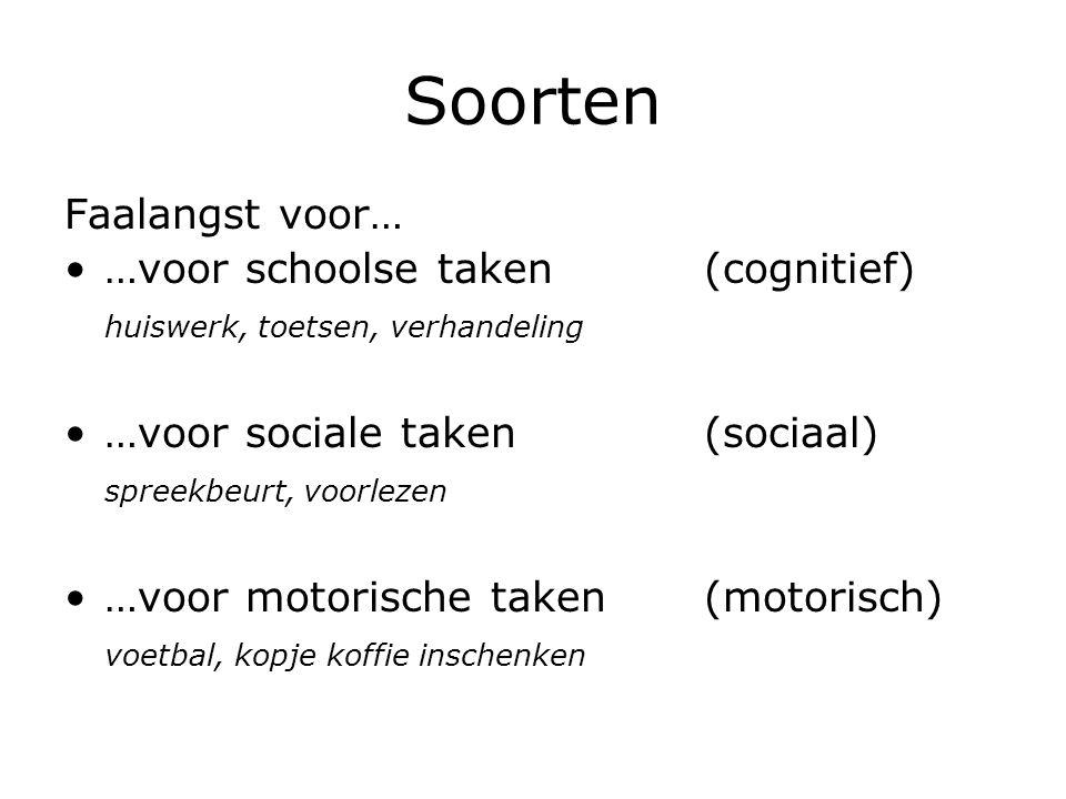 Soorten Faalangst voor… …voor schoolse taken(cognitief) huiswerk, toetsen, verhandeling …voor sociale taken(sociaal) spreekbeurt, voorlezen …voor moto