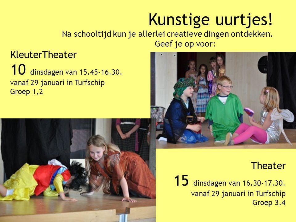 Kunstige uurtjes! Na schooltijd kun je allerlei creatieve dingen ontdekken. Geef je op voor: KleuterTheater 10 dinsdagen van 15.45-16.30. vanaf 29 jan
