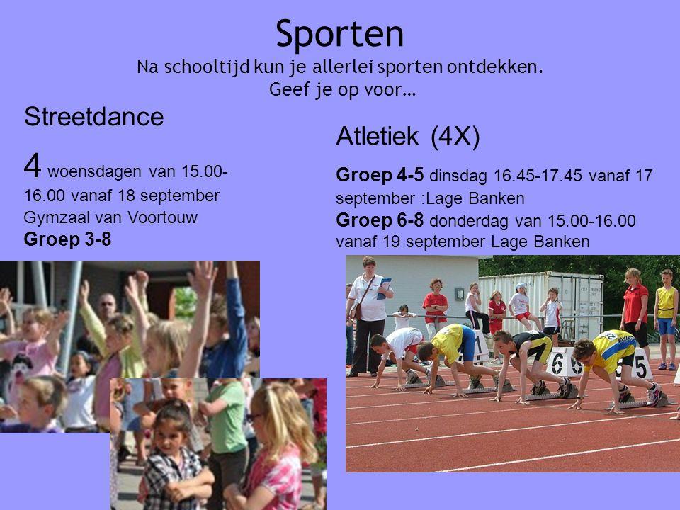 Sporten Na schooltijd kun je allerlei sporten ontdekken.