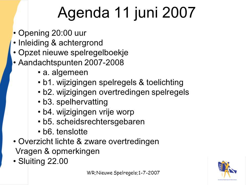WR;Nieuwe Spelregels;1-7-20072 Agenda 11 juni 2007 Opening 20:00 uur Inleiding & achtergrond Opzet nieuwe spelregelboekje Aandachtspunten 2007-2008 a.