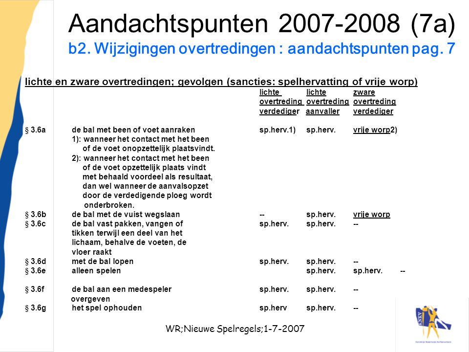 WR;Nieuwe Spelregels;1-7-200724 Aandachtspunten 2007-2008 (7a) b2. Wijzigingen overtredingen : aandachtspunten pag. 7 lichte en zware overtredingen; g