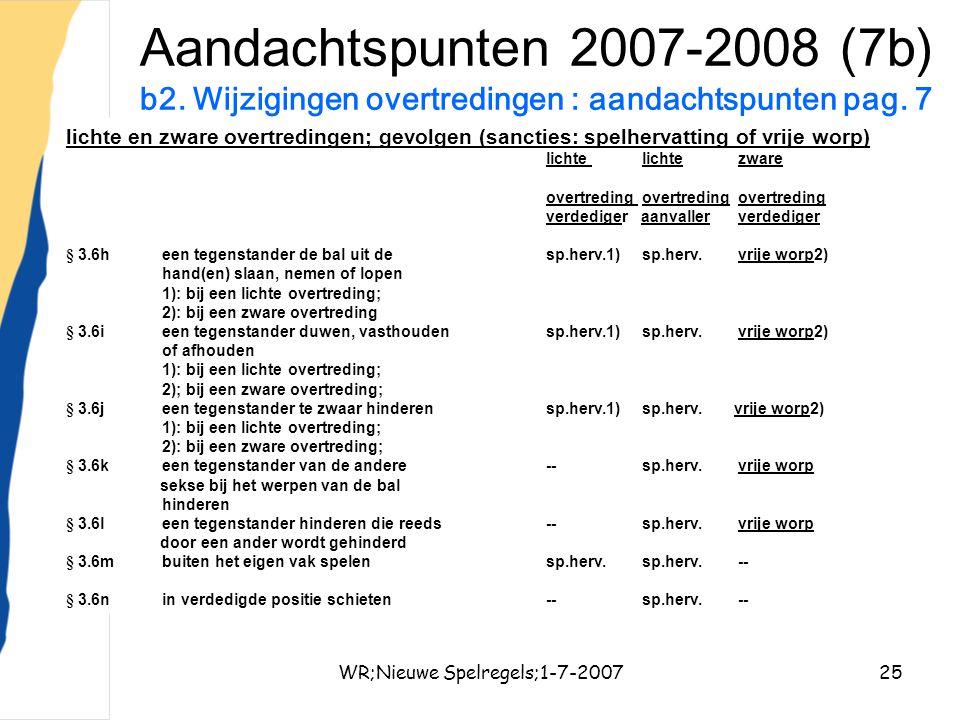 WR;Nieuwe Spelregels;1-7-200725 Aandachtspunten 2007-2008 (7b) b2. Wijzigingen overtredingen : aandachtspunten pag. 7 lichte en zware overtredingen; g