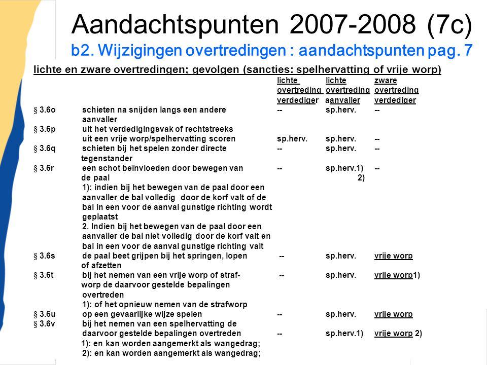WR;Nieuwe Spelregels;1-7-200726 Aandachtspunten 2007-2008 (7c) b2. Wijzigingen overtredingen : aandachtspunten pag. 7 lichte en zware overtredingen; g