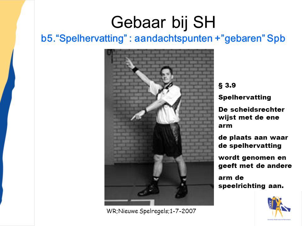 """WR;Nieuwe Spelregels;1-7-200729 Gebaar bij SH b5.""""Spelhervatting"""" : aandachtspunten +""""gebaren"""" Spb § 3.9 Spelhervatting De scheidsrechter wijst met de"""