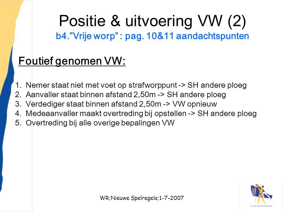 """WR;Nieuwe Spelregels;1-7-200731 Positie & uitvoering VW (2) b4.""""Vrije worp"""" : pag. 10&11 aandachtspunten Foutief genomen VW: 1.Nemer staat niet met vo"""