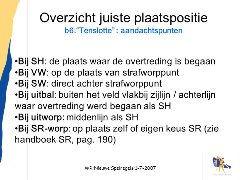 """WR;Nieuwe Spelregels;1-7-200734 Overzicht juiste plaatspositie b6.""""Tenslotte"""" : aandachtspunten Bij SH: de plaats waar de overtreding is begaan Bij VW"""