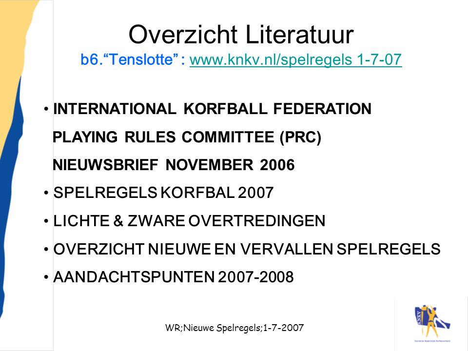 """WR;Nieuwe Spelregels;1-7-200735 Overzicht Literatuur b6.""""Tenslotte"""" : www.knkv.nl/spelregels 1-7-07www.knkv.nl/spelregels 1-7-07 INTERNATIONAL KORFBAL"""