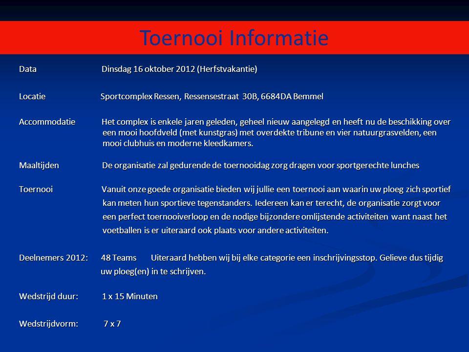 Toernooi Informatie Data Dinsdag 16 oktober 2012 (Herfstvakantie) Locatie Sportcomplex Ressen, Ressensestraat 30B, 6684DA Bemmel Accommodatie Het comp
