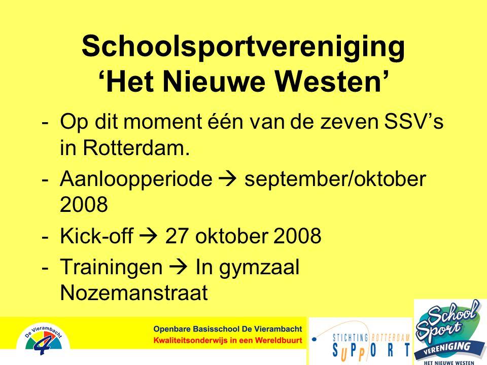 Schoolsportvereniging 'Het Nieuwe Westen' -Op dit moment één van de zeven SSV's in Rotterdam.
