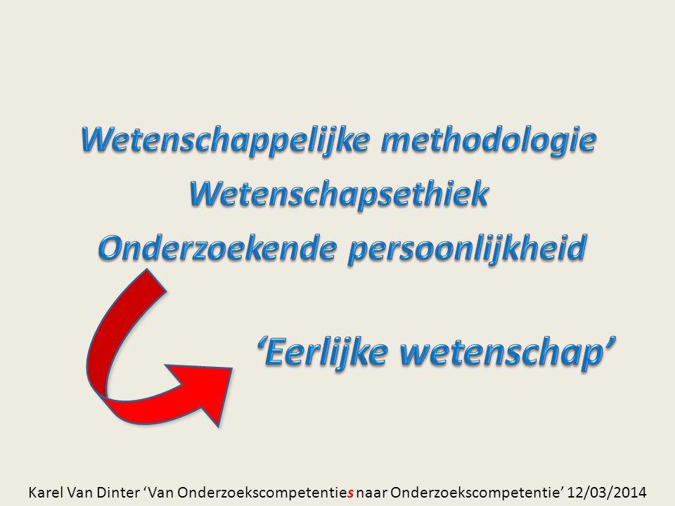 – Herhaalbaar – Controleerbaar – (Zelf-)kritisch – Democratisch – Openbaar (peergroupreview) – Methodologisch – Relevant – Geen plagiaat – … Internet !!.