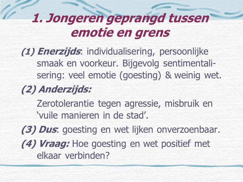 1. Jongeren geprangd tussen emotie en grens (1) Enerzijds: individualisering, persoonlijke smaak en voorkeur. Bijgevolg sentimentali- sering: veel emo