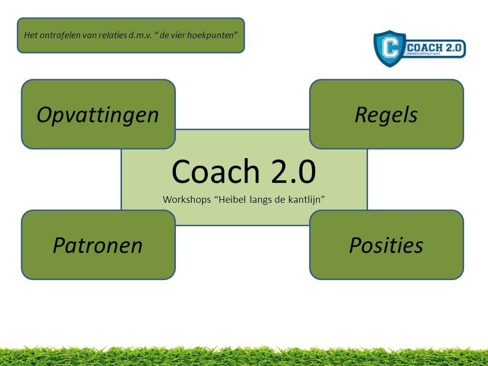 Coach 2.0 Workshops Heibel langs de kantlijn Opvattingen PatronenPosities Regels Het ontrafelen van relaties d.m.v.