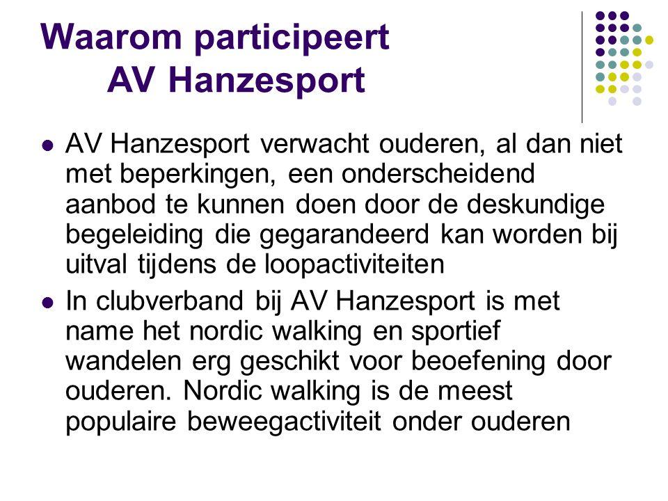 Nordiv Walking bij AV Hanzesport Nordic walking (duurtraining op finess- niveau): donderdagmiddag– donderdagavond – zaterdagmorgen – zondagmorgen Sportief wandelen (intervaltraining op fitness- niveau): dinsdagmiddag – dinsdagavond – zaterdagmorgen