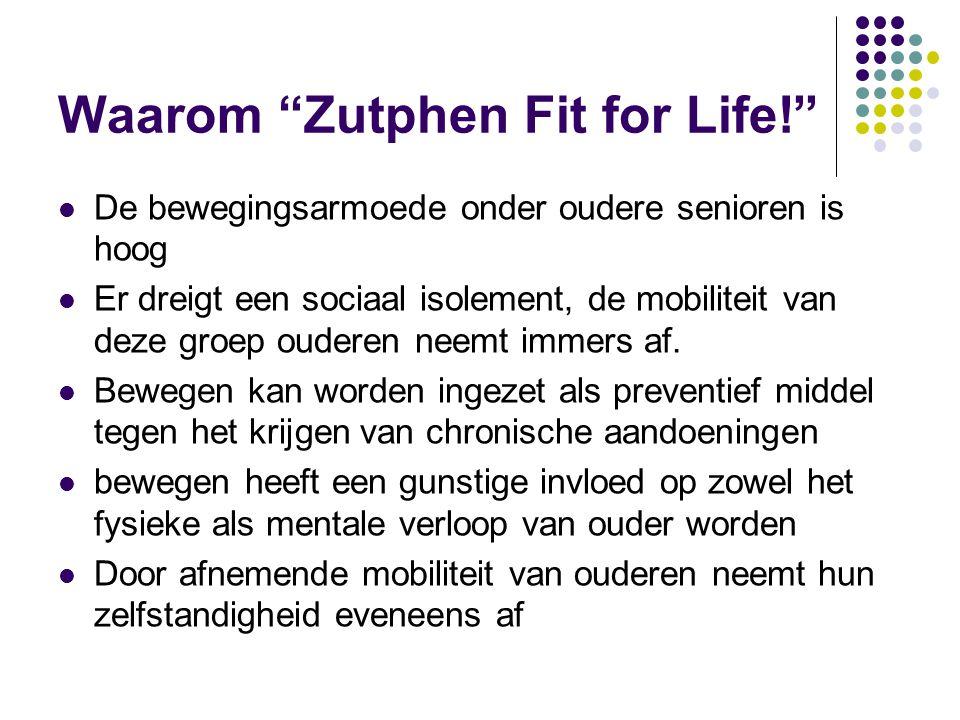 Waarom Zutphen Fit for Life! De bewegingsarmoede onder oudere senioren is hoog Er dreigt een sociaal isolement, de mobiliteit van deze groep ouderen neemt immers af.
