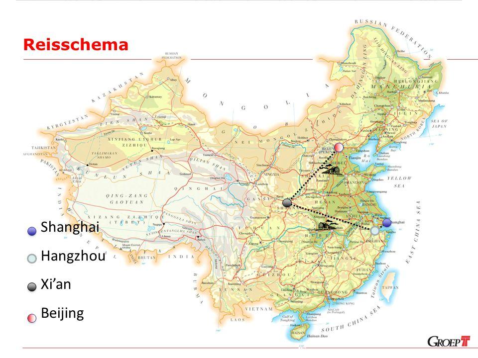 Reisschema Shanghai Hangzhou Xi'an Beijing