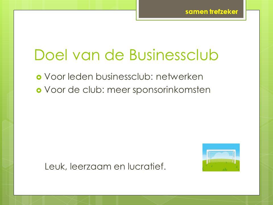 Doel van de Businessclub  Voor leden businessclub: netwerken  Voor de club: meer sponsorinkomsten samen trefzeker Leuk, leerzaam en lucratief.