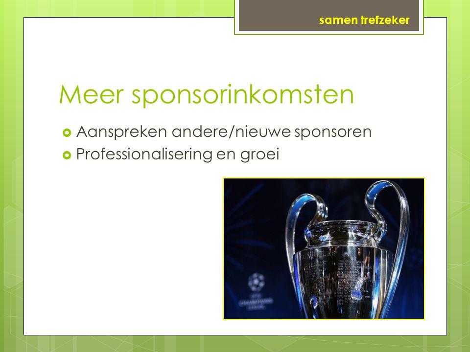 Meer sponsorinkomsten  Aanspreken andere/nieuwe sponsoren  Professionalisering en groei samen trefzeker