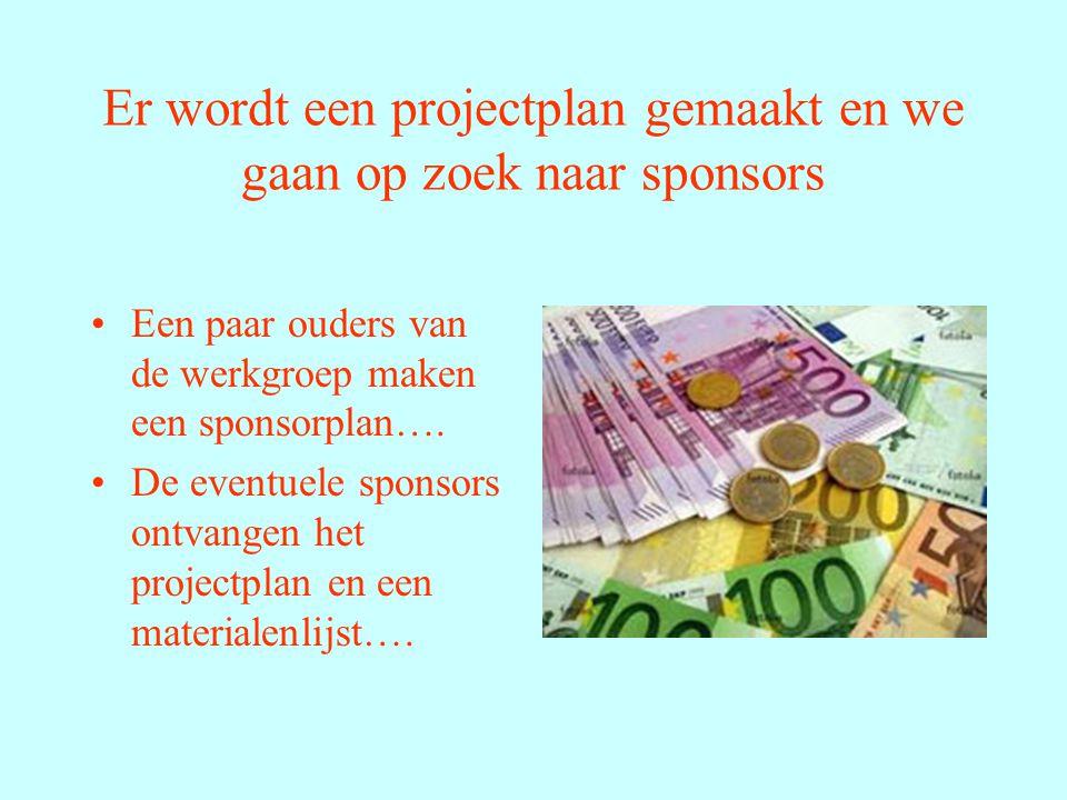 Er wordt een projectplan gemaakt en we gaan op zoek naar sponsors Een paar ouders van de werkgroep maken een sponsorplan….