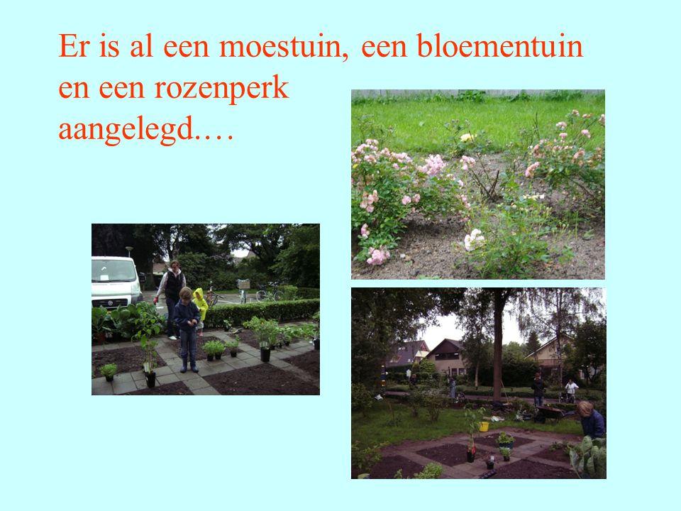 Er is al een moestuin, een bloementuin en een rozenperk aangelegd.…