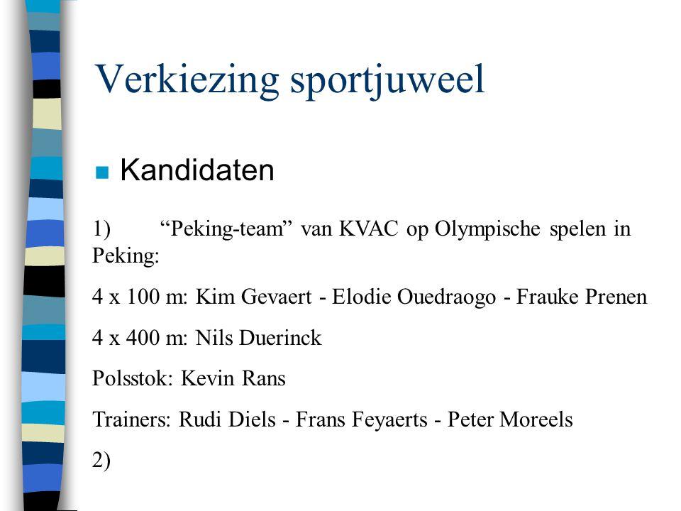 """Verkiezing sportjuweel n Kandidaten 1)""""Peking-team"""" van KVAC op Olympische spelen in Peking: 4 x 100 m: Kim Gevaert - Elodie Ouedraogo - Frauke Prenen"""