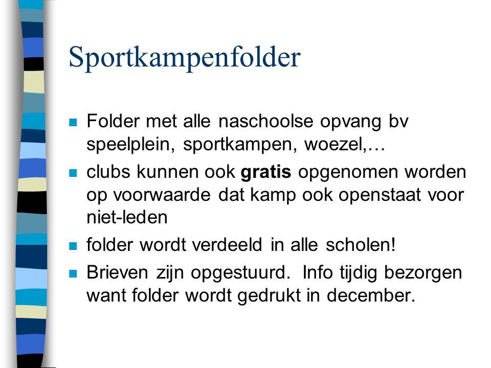 Sportkampenfolder n Folder met alle naschoolse opvang bv speelplein, sportkampen, woezel,… n clubs kunnen ook gratis opgenomen worden op voorwaarde da