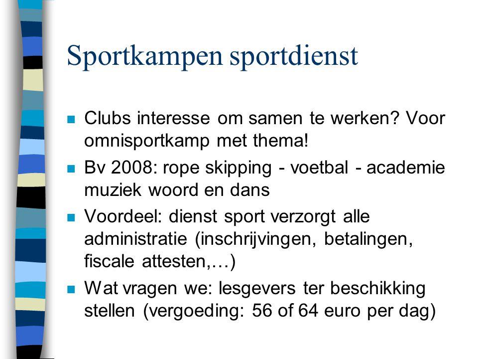 Sportkampen sportdienst n Clubs interesse om samen te werken? Voor omnisportkamp met thema! n Bv 2008: rope skipping - voetbal - academie muziek woord