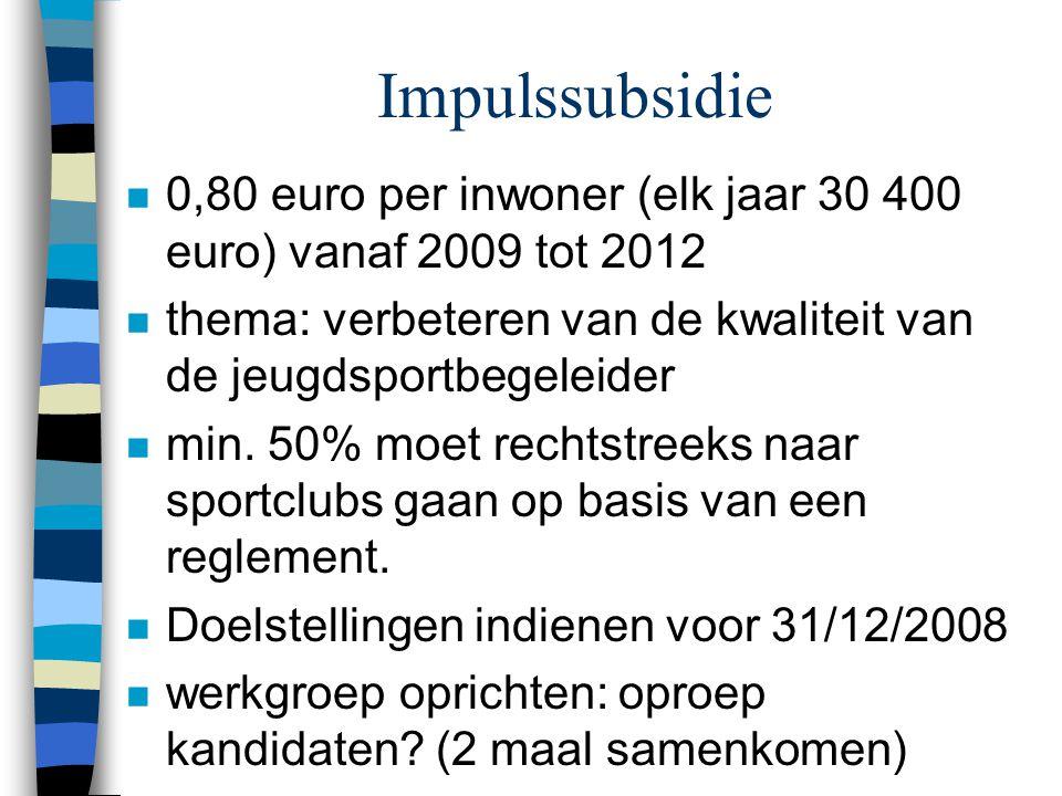 Impulssubsidie n 0,80 euro per inwoner (elk jaar 30 400 euro) vanaf 2009 tot 2012 n thema: verbeteren van de kwaliteit van de jeugdsportbegeleider n m