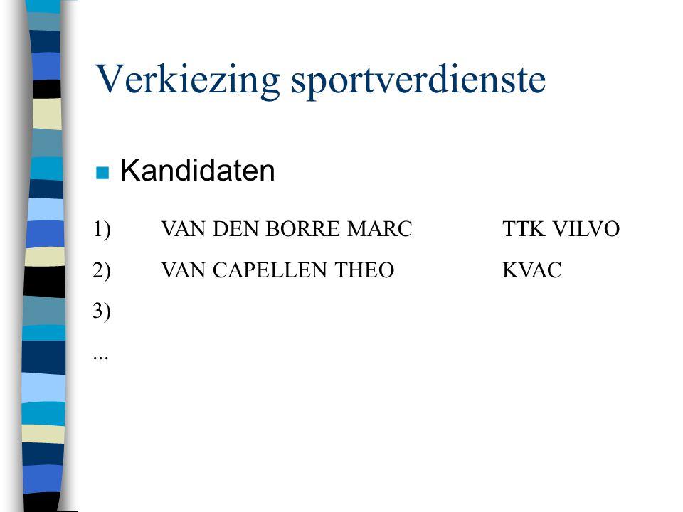 Verkiezing sportverdienste n Kandidaten 1)VAN DEN BORRE MARCTTK VILVO 2)VAN CAPELLEN THEOKVAC 3)...