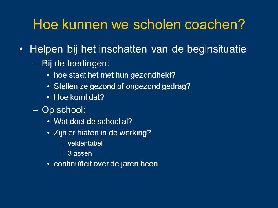 Hoe kunnen we scholen coachen? Helpen bij het inschatten van de beginsituatie –Bij de leerlingen: hoe staat het met hun gezondheid? Stellen ze gezond