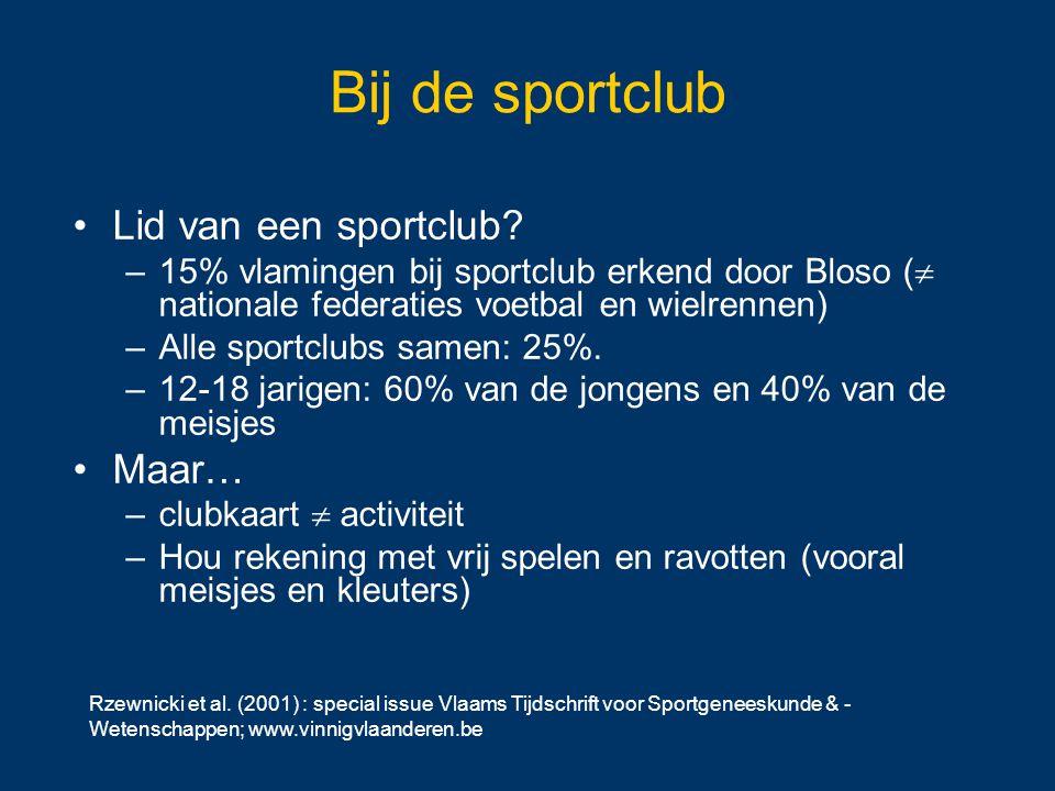 Rzewnicki et al. (2001) : special issue Vlaams Tijdschrift voor Sportgeneeskunde & - Wetenschappen; www.vinnigvlaanderen.be Bij de sportclub Lid van e