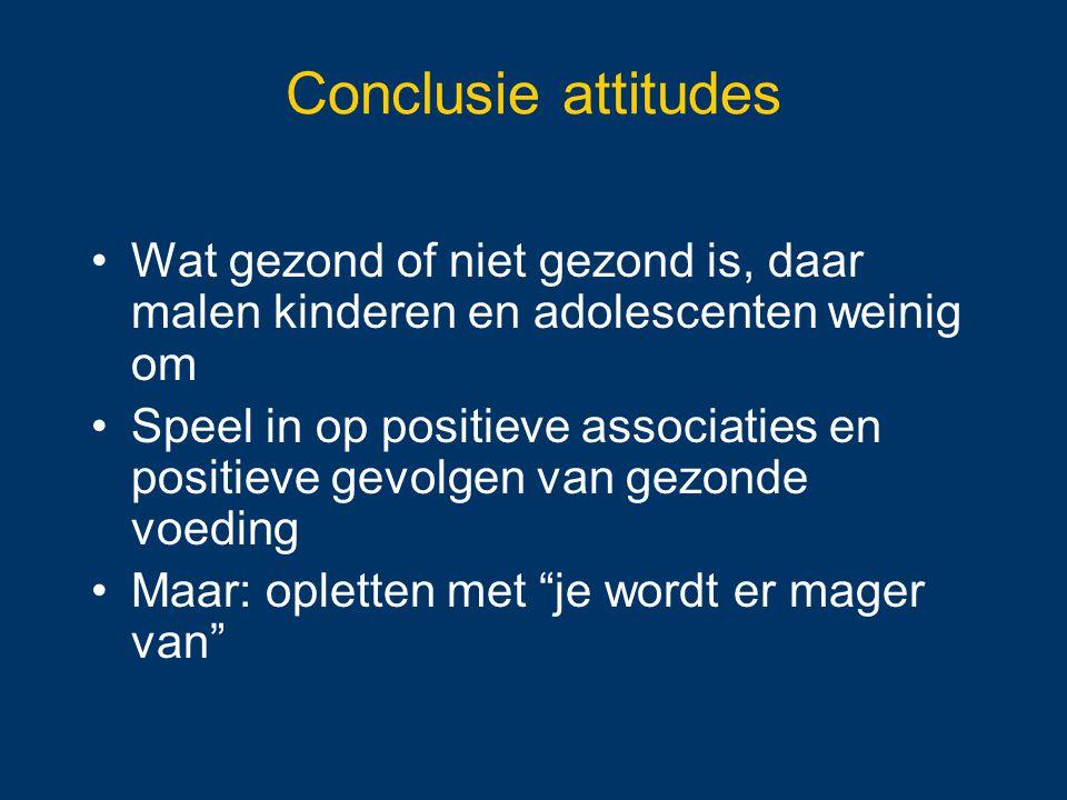 Conclusie attitudes Wat gezond of niet gezond is, daar malen kinderen en adolescenten weinig om Speel in op positieve associaties en positieve gevolge