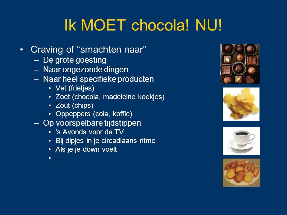 """Ik MOET chocola! NU! Craving of """"smachten naar"""" –De grote goesting –Naar ongezonde dingen –Naar heel specifieke producten Vet (frietjes) Zoet (chocola"""