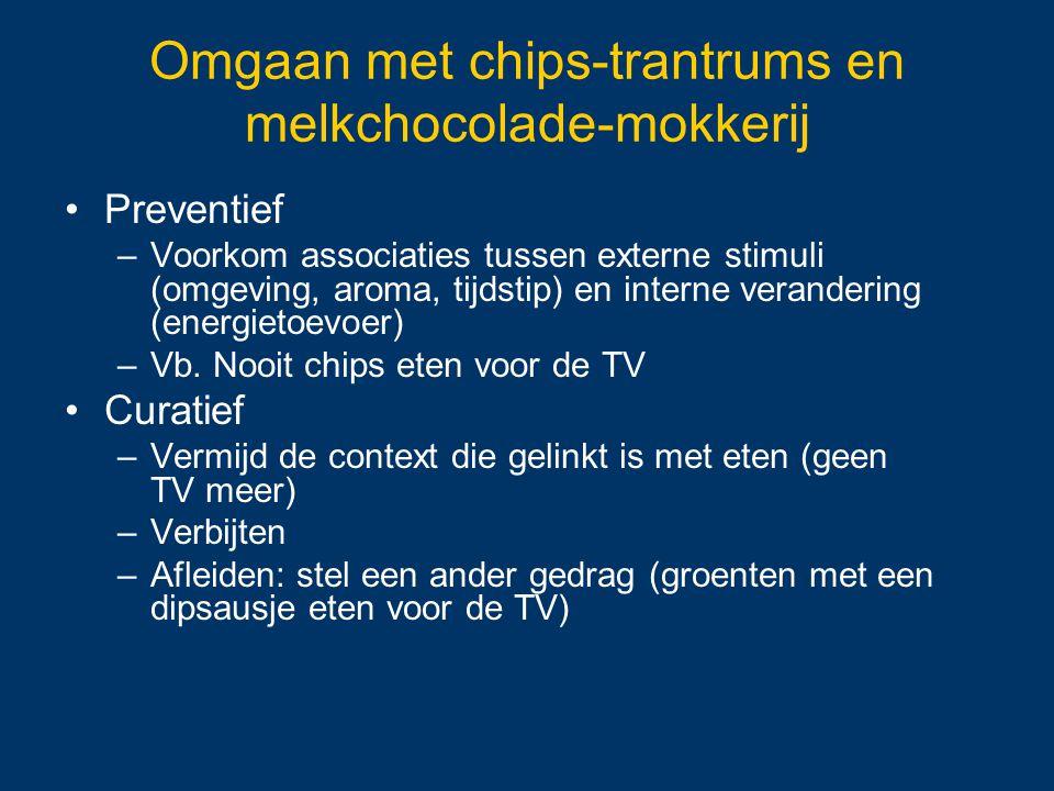 Omgaan met chips-trantrums en melkchocolade-mokkerij Preventief –Voorkom associaties tussen externe stimuli (omgeving, aroma, tijdstip) en interne ver