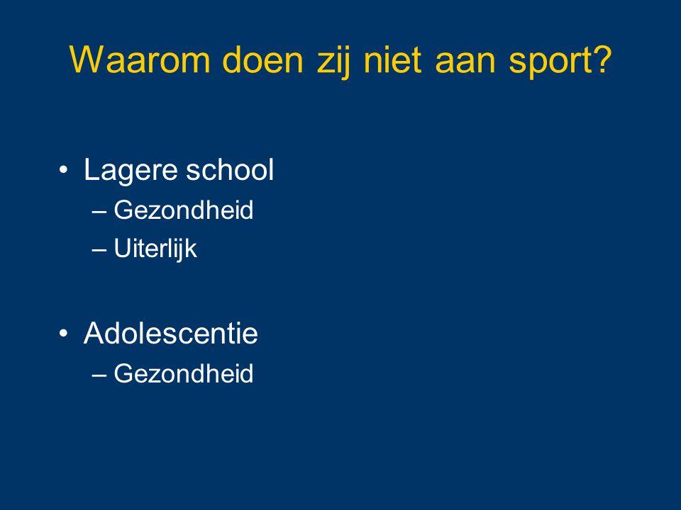 Waarom doen zij niet aan sport? Lagere school –Gezondheid –Uiterlijk Adolescentie –Gezondheid